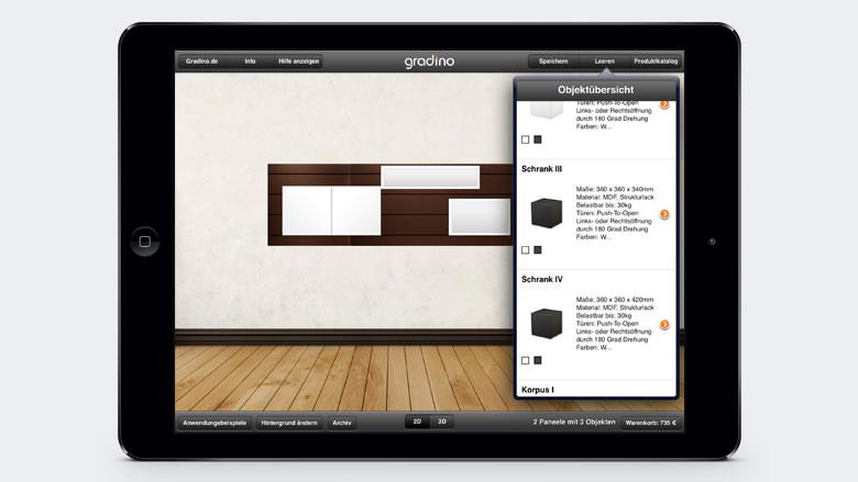 iPad Möbel Konfigurator gradino